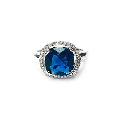 Sapphire Blue Cubic Zirconia Ring