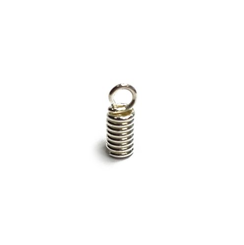 Open Loop Spring Cord End In Silver Plated Finish