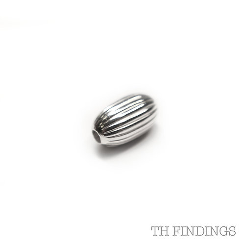 Sterling Silver 925 4x7mm Oval Fluted Bead