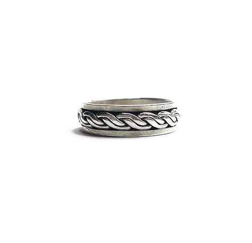 Sterling Silver 925 Antique Finish Rope Spinner Ring