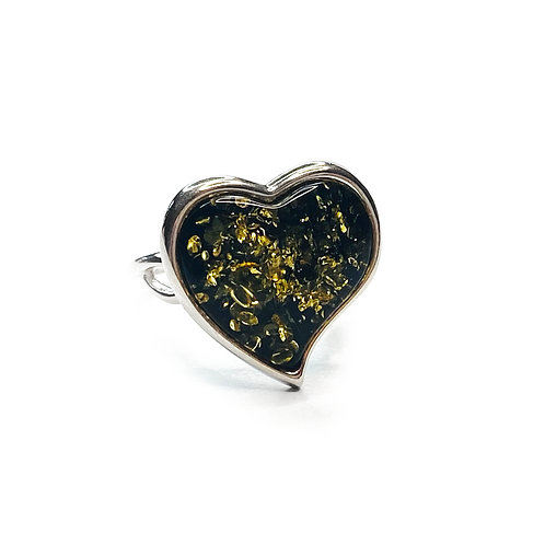 Sterling Silver 925 Green Amber Heart Ring