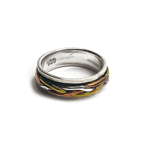 Sterling Silver 925 Antique Finish Plated Celtic Spinner Ring