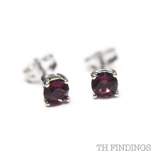 Sterling Silver 925 4mm Round Amethyst Cubic Zirconia Earstuds