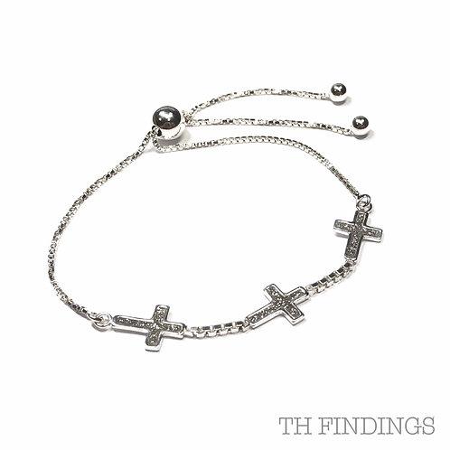 Sterling Silver 925 3 Cross Adjustable Bracelet
