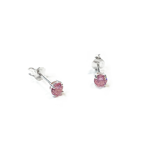 4mm Pink CZ Boxed Studs