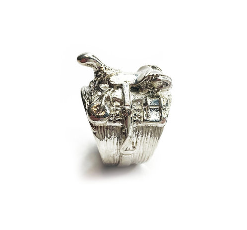 Sterling Silver 925 Heavyweight Equestrian Saddle Ring