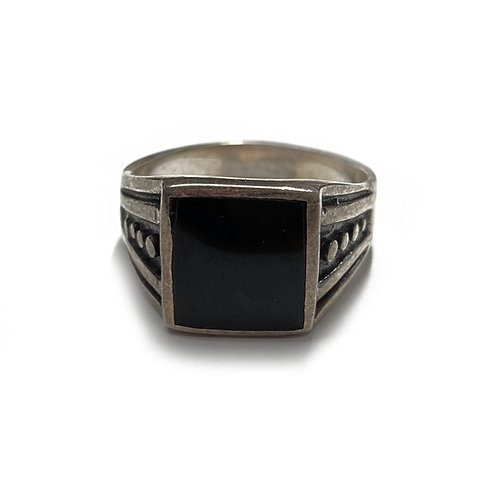 Sterling Silver 925 Size W Antique Finish Onyx Statement Ring