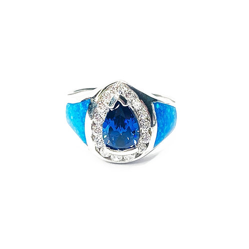 Synthetic Blue Opal & Blue CZ Ring