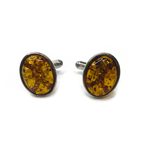 Sterling Silver 925 Boxed Amber Cufflinks