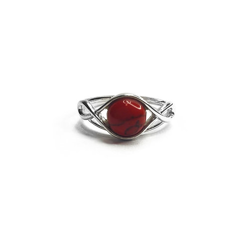 Sterling Silver 925 Red Jasper Knot Ring