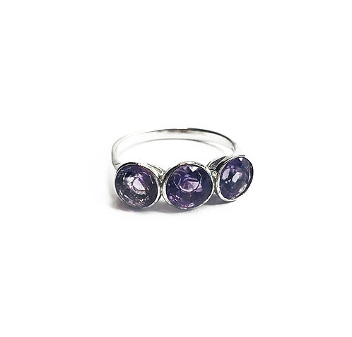 Sterling Silver 925 Amethyst Cubic Zirconia Ring