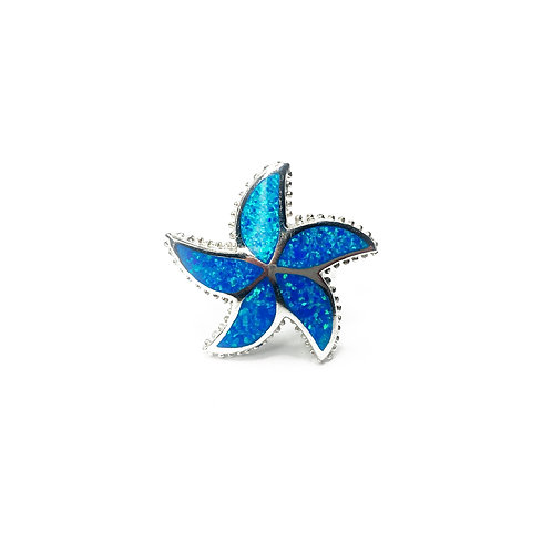 Synthetic Blue Opal Starfish Ring