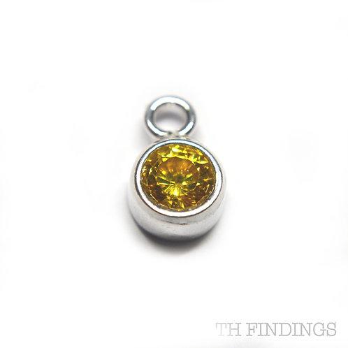 Sterling Silver 925 Citrine Yellow Coloured CZ November Birthstone Dropper Charm