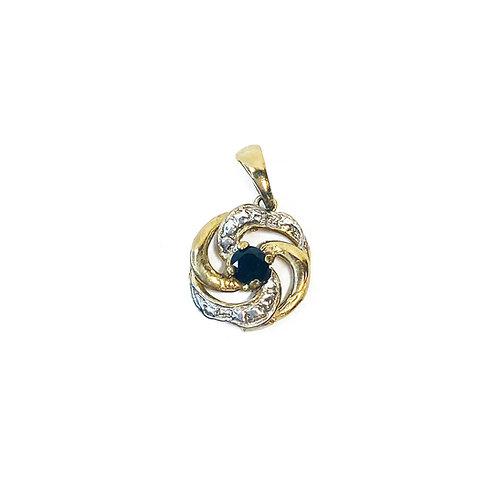 9ct Gold Black Sapphire & CZ Pendant