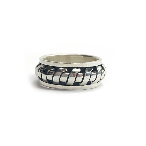 Sterling Silver 925 Antique Finish Spinner Ring
