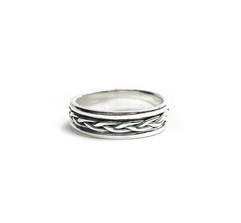 Sterling Silver 925 Antique Finish Slim Celtic Ring