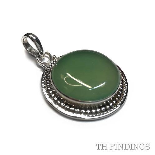 Green Aventurine, Semi Precious, Sterling Silver 925 Pendant