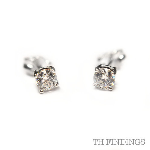 Sterling Silver 925 4mm Round Cubic Zirconia Earstuds