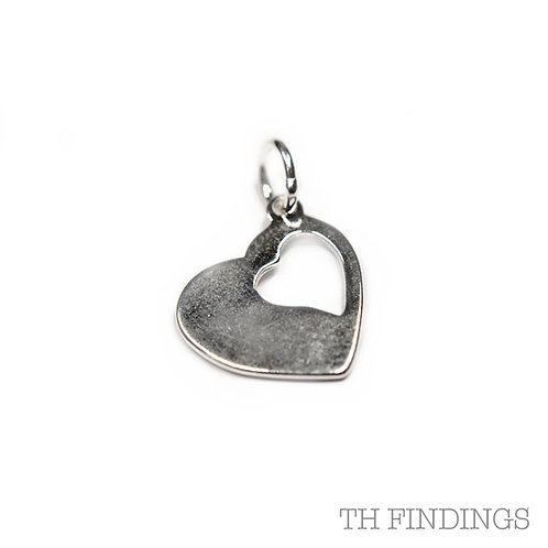 Sterling Silver 925 Stamped Heart Charm