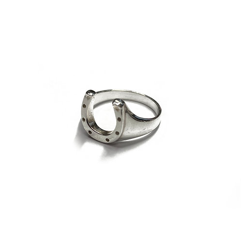 Sterling Silver 925 Size R Antique Finish Lucky Horseshoe Ring