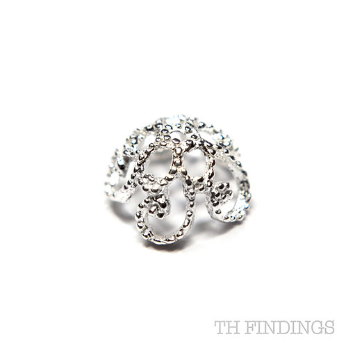 Sterling Silver 925 Fancy 7.5mm Filagree Bead Cup