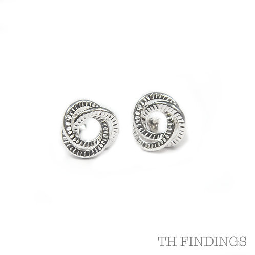 Sterling Silver 925 Textured Knot Earstuds