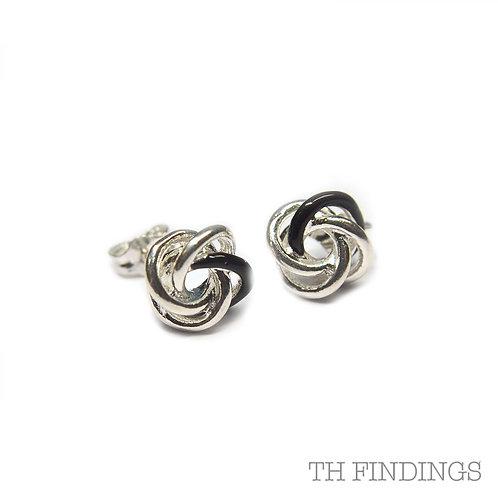 Sterling Silver 925 Black Enamel Knot Earstuds
