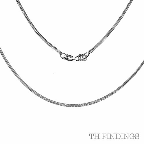 """Sterling Silver 925 16"""" 1mm Foxtail Chain"""