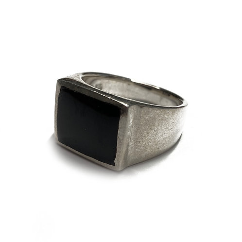 Sterling Silver 925 Size P Antique Finish Onyx Statement Ring