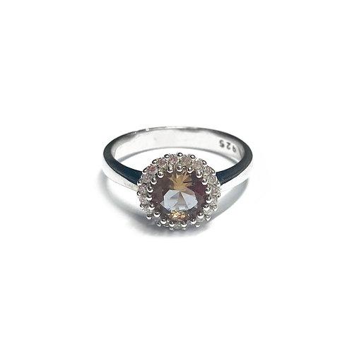 Sterling Silver 925 Topaz CZ Halo Ring