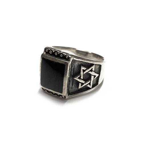 Sterling Silver 925 Size M Antique Finish Onyx Star of David Ring