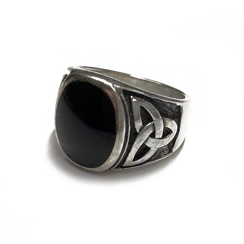 Sterling Silver 925 Size O Antique Finish Onyx Trinity Ring