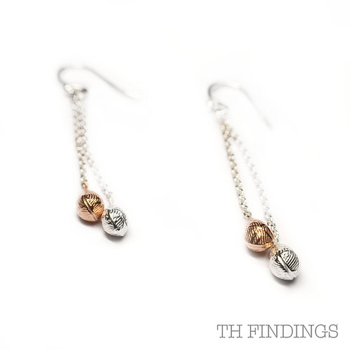 Sterling Silver 925 Rose Gold Plated 2 Tone Chain Drop Earrings