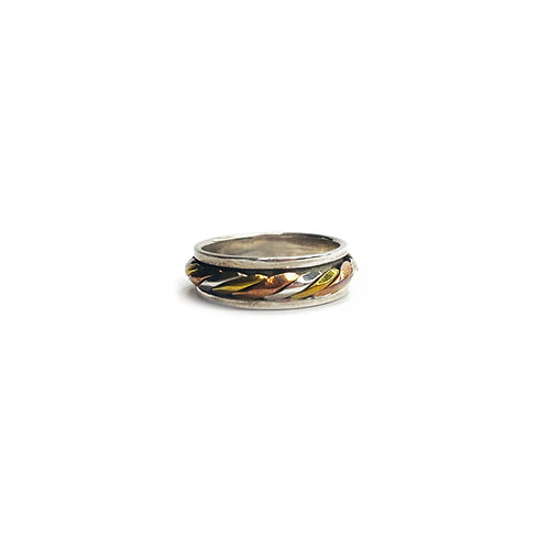 Sterling Silver 925 Antique Finish Plated 3 Colour Spinner Ring