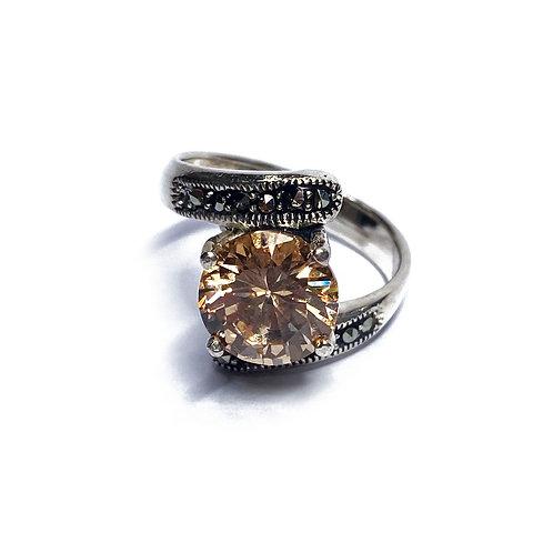 Sterling Silver 925 Rose Quartz Cubic Zirconia Ring