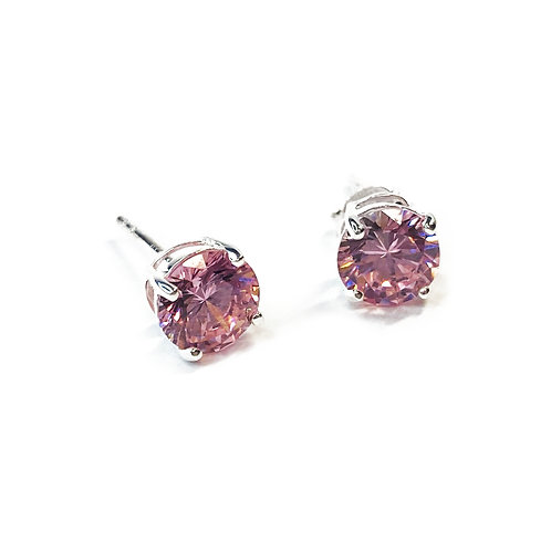 7mm Pink CZ Boxed Studs