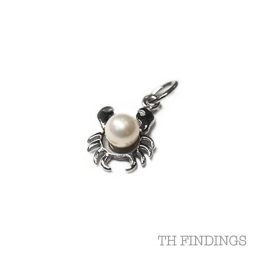 Sterling Silver 925 Crab & Pearl Charm