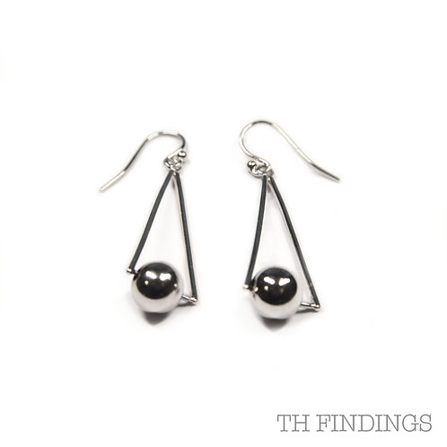 Sterling Silver 925 Rhodium Plated Triangle & Ball Fish Hook Earrings