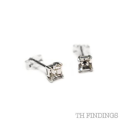 Sterling Silver 925 4mm Square Cubic Zirconia Earstuds