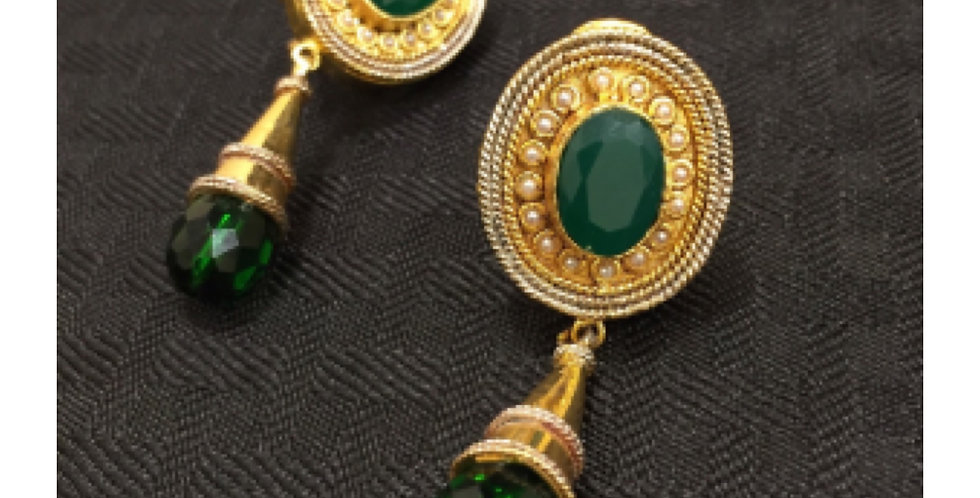 Emerald Cone Dangling Earings