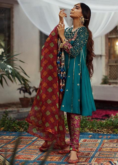 Green Raw Silk - Zainab Salman