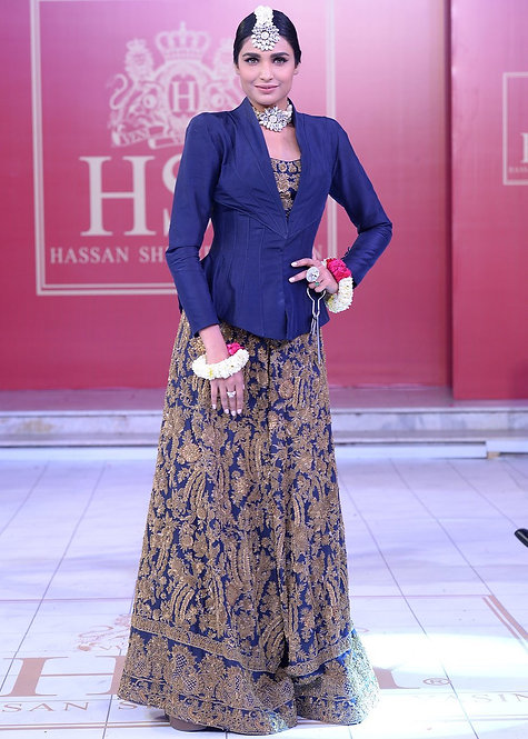 Navy Blue Sharara - HSY