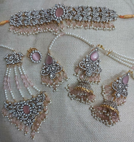 Silver, Baby Pink & White Set - Moons Couture