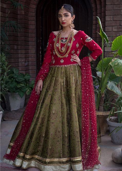 Pink & Green Brocade Lehnga - Mohsin Naveed Ranjha