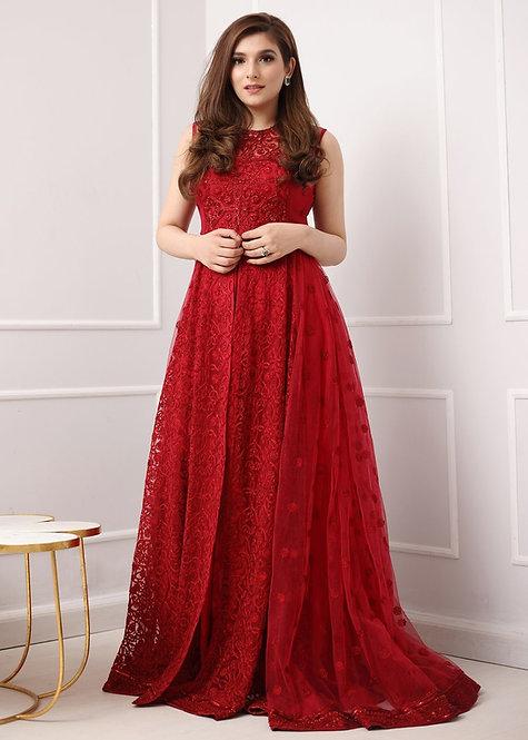 Red Long Dress - Sadaf Fawad Khan