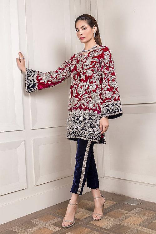 Fuschia & Navy Two Tone Velvet Outfit - Rema