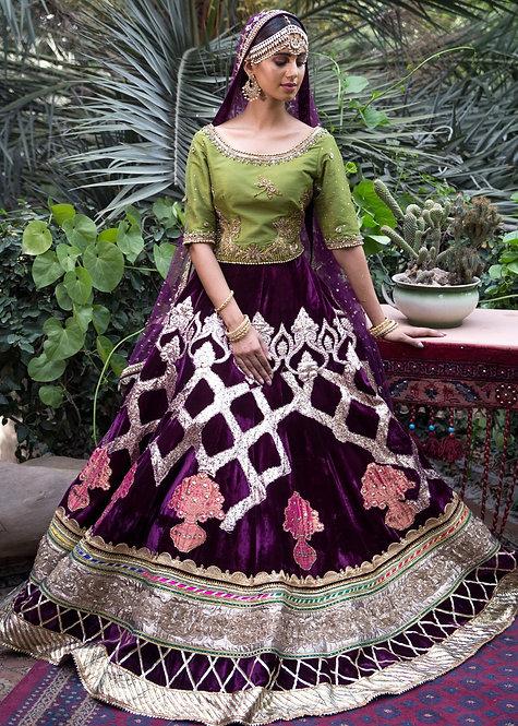 Burgundy Velvet Lehnga - Mohsin Naveed Ranjha