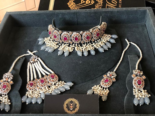 22K Gold Plated Set Grey - Moons Couture