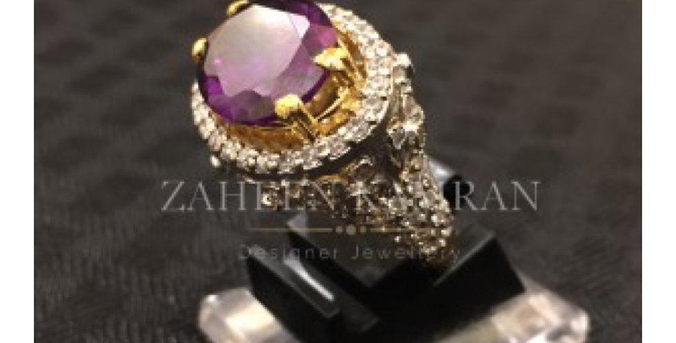 Amethyst Zircon Ring