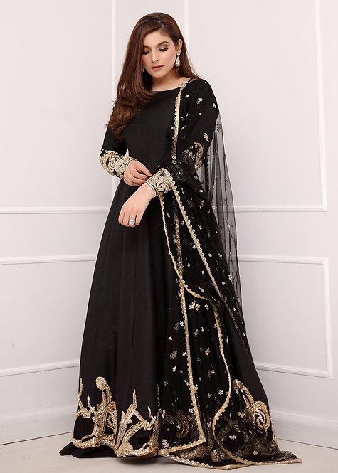 Black Embellished Long Frock - Sadaf Fawad Khan
